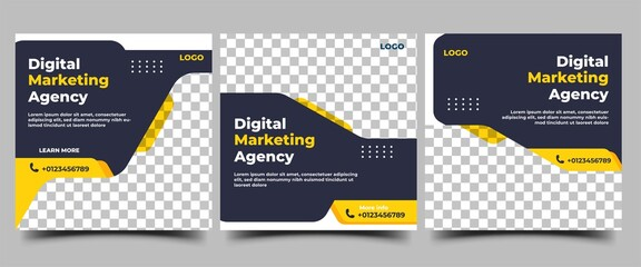 Obraz Set of Social media post templates for business promotion. Modern banner with a black background and yellow accents. - fototapety do salonu