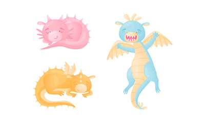 Fototapeta Cute Dragons as Horned and Winged Four-legged Creature from Fairytale Vector Set obraz