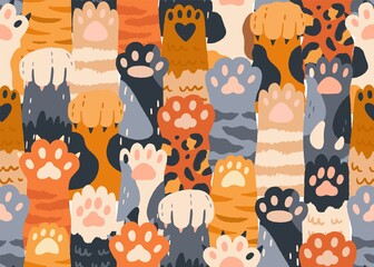 Seamless pattern with cute cat paws raised up together. Repeating background with kitties' hands. Feline animals crowd. Colored flat vector illustration of endless texture for printing and decoration