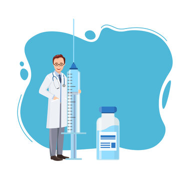 Concept Immunization schedule. Vaccination campaign. Doctor holding large syringe