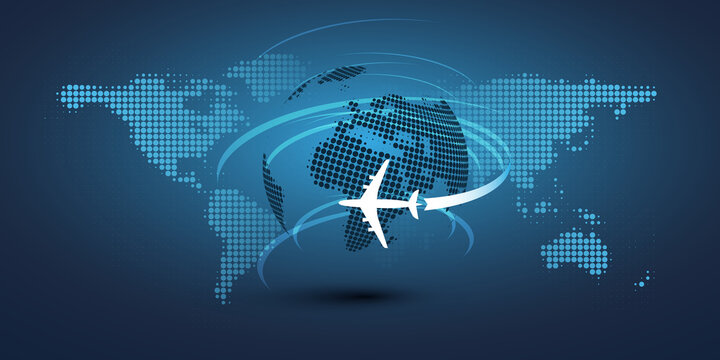 Traveling Around the World - Travel by Airplane - World Map Design