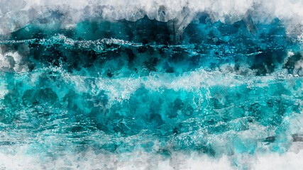 Abstract blue wave ocean watercolor background. Artistic painted background for design, wallpaper,...