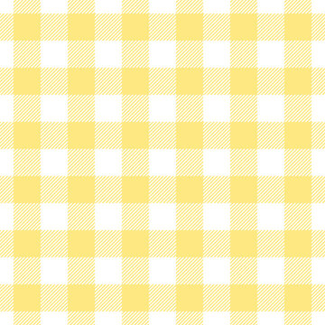Lemon yellow gingham check pattern. Seamless spring summer vichy background graphic vector for oilcloth, tablecloth, picnic blanket, scrapbook, other modern everyday fashion paper or textile print.