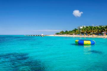 Caribbean Sunny beach and turquoise sea in Montego Bay, Jamaica island.. - fototapety na wymiar