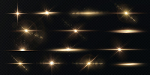 Obraz Light rays of light horizontal golden color with glare and flashes isolated on a transparent background. Festive set light laser abstract. Celebratory Gold-colored light star with glare. - fototapety do salonu