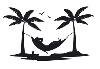 man relaxing in hammock on the beach at sunset silhouette.man relaxing in hammock on the beach at sunset silhouette. - fototapety na wymiar