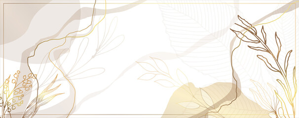 Luxurious golden wallpaper. White background. Gold leaves wall art with shiny golden light texture. Modern art mural wallpaper. Place for your text. Vector illustration.