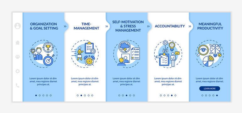 Self regulation skills improvement onboarding vector template. Responsive mobile website with icons. Web page walkthrough 5 step screens. Productivity color concept with linear illustrations