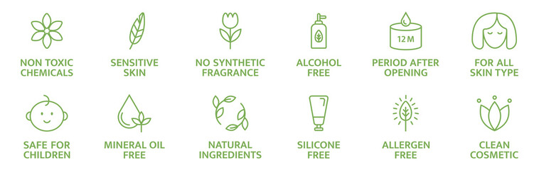 Obraz Organic and natural cosmetic line icons. Skincare symbol. Allergen free badges. Beauty product. Gluten and paraben free cosmetic. Non toxic logo. Eco, vegan label. Sensitive skin. Vector illustration - fototapety do salonu