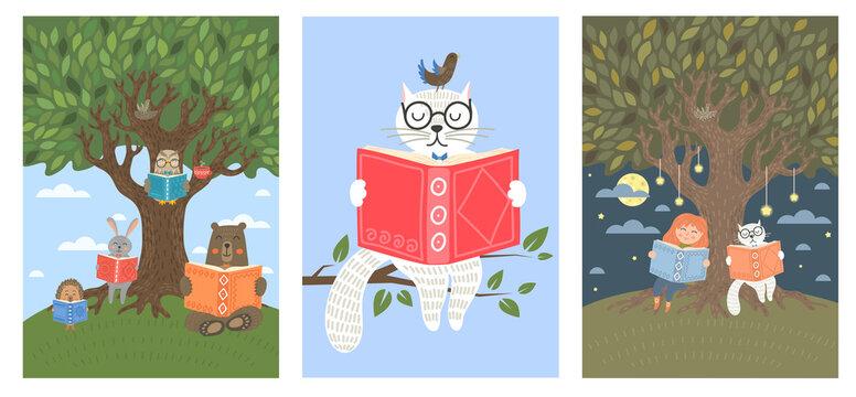 Set of animals read books near tree. Cat, owl, bear, rabbit, hedgehog and little child reading books. Children illustration, literature, storytime, education concept.