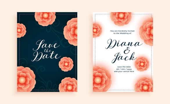 beautiful flowers wedding card design template