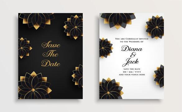 golden flowers wedding card design template