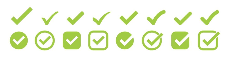 check mark vector icon. green box set. ok choose illustration white background. correct isolated symbol.