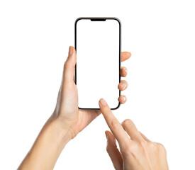 Obraz Woman hand using smartphone isolated on white background - fototapety do salonu