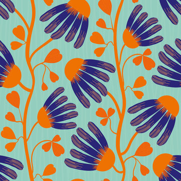 Modern Indian Floral style vector seamless pattern background. Neon orange indigo abstract echinacea flowers on winding vine with heart shaped leaves on a textured blue background.Tropical repeat