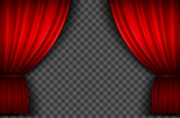 Red curtains. Realistic open velvet stage curtain for theatre show, circus or cinema. Portiere drapes for premiere ceremony vector template