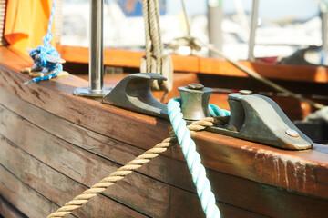 Mooring rope and bollard of old ship.