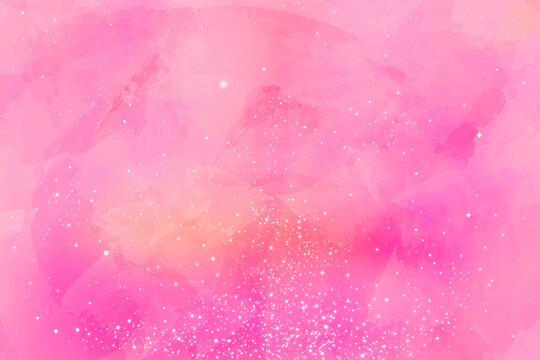 幻想的な、ピンク色のパステルカラーの星空、星の海の美しいグラフィック