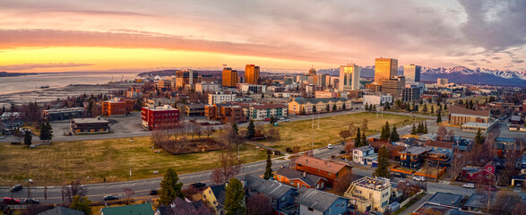 Aerial View of a Sunset over Downtown Anchorage, Alaska in Spring - fototapety na wymiar