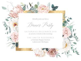 Fototapeta Silver sage and blush pink flowers vector design frame obraz