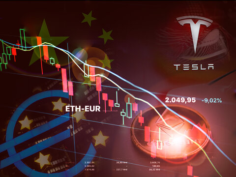 NEW YORK,USA-MAT 21 ,2021: ethereum lost more than 30% against euro after negative outlook from china government, bce and Elon Musk tesla' cer once a big fan of the electronic coin.