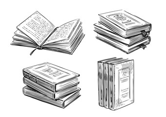 Books sketch. Literature, library concept in vintage style. Hand drawn vector design elements
