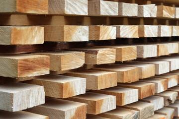 Obraz Drewniane belki z surowego drewna ułożone w deseń.  - fototapety do salonu