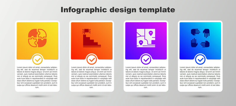 Set Piece of puzzle, Stair with finish flag, Folded map location and Project team base. Business infographic template. Vector