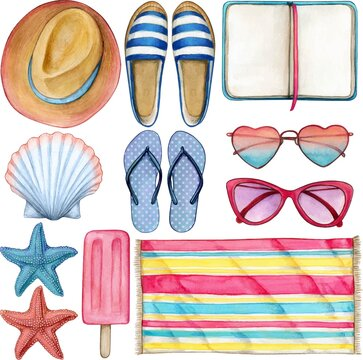 Watercolor summer object icon set pink and blue