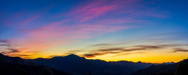 Panorama of Mountain horizon at sunset, sunrise