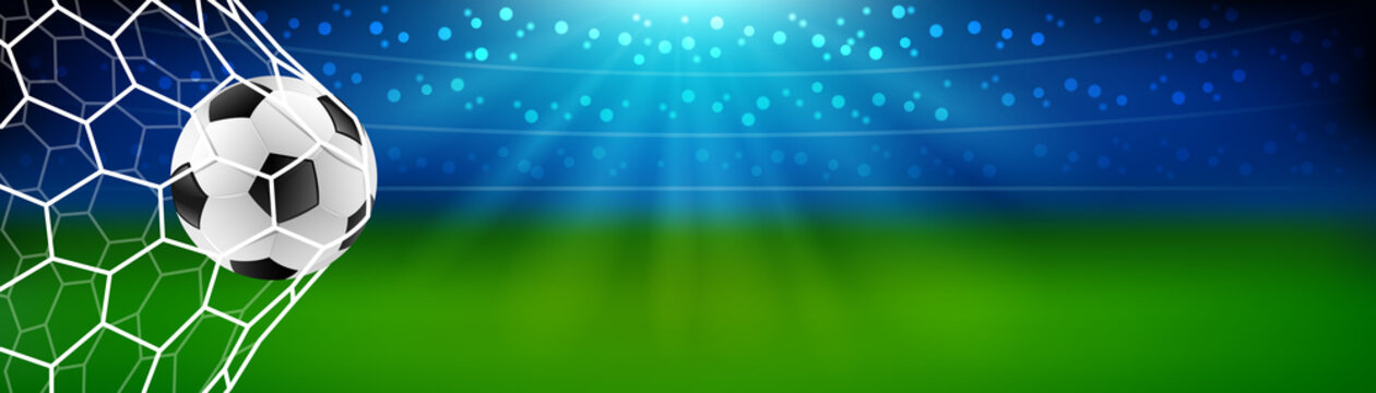 Soccer football in the goal net with stadium background. european or world championship. vector illustration banner