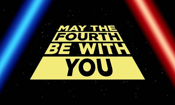 May The 4th Be With You. Vector Illustration Of Star wars day with stars.