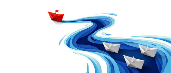 Success leadership concept, Origami red paper boat floating in front of white paper boats on winding blue river, Paper art design banner background