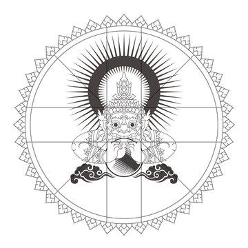 Background Templete Thai Zodiac Board Rahu. Vector illustration
