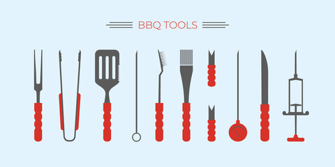 Obraz BBQ, barbecue, grill accessories, popular grilling utensils tools set. Thermometer,meat Injector, claws, fork and tongs, spatula,skewer,knife,cleaning brush. Colorful flat isolated vector illustration - fototapety do salonu