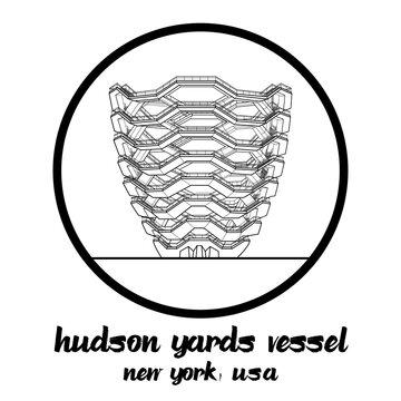 Circle icon Landmark Hudson Yards Vessel in Newyork USA. icon vector illustration
