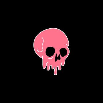 Pink Skull vector artwork. Dripping skulls T shirt design illustration. Download it now.