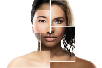 Face parts of different ethnicity women