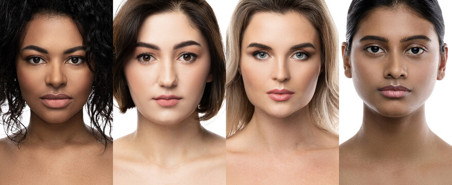 Multi-ethnic beauty and skincare. Group of women with a different ethnicity.