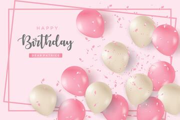 Fototapeta Happy birthday illustration background. obraz