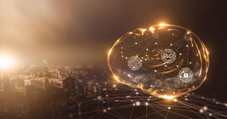 Fototapeta Artificial intelligence wireless communication networking fast deep learning machine improving development future AI machine and technology, human brain hologram with smart city sunset background. obraz