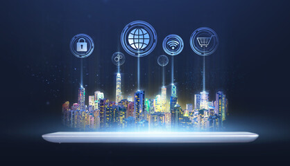 Fototapeta Futuristic city on digital tablet technology, smart city internet of things application system abstract blue background of internet network connection wireless communication graphical icon concept obraz