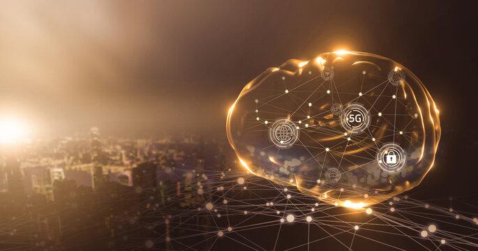 Artificial intelligence wireless communication networking fast deep learning machine improving development future AI machine and technology, human brain hologram with smart city sunset background.