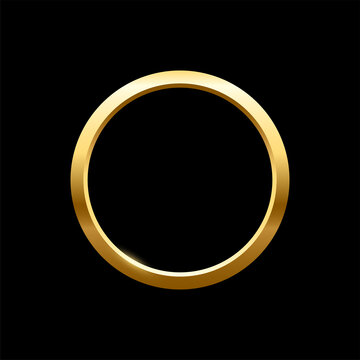 Gold round frame for picture on black background. Blank space for picture, painting, card or photo. 3d realistic modern circle template vector illustration. Simple golden object mockup
