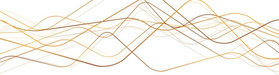 Fototapeta Bright golden wavy lines abstract futuristic background. Luxury vector banner design obraz