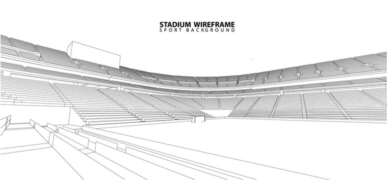 3D wireframe of stadium or sport arena. vector