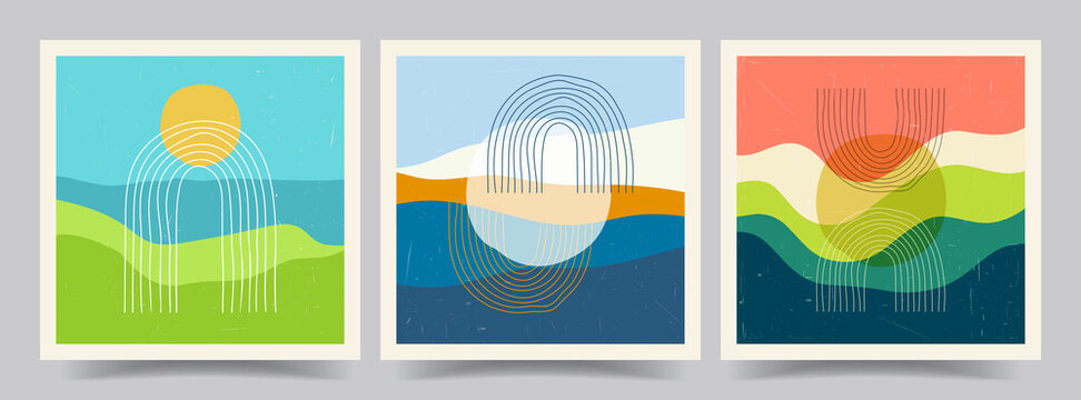Vector illustration. Minimalist landscape. Abstract posters set. Contemporary backgrounds. Mid century wall decor. Design for social media template, web banner. Mountain, sea, hill, sunset scene