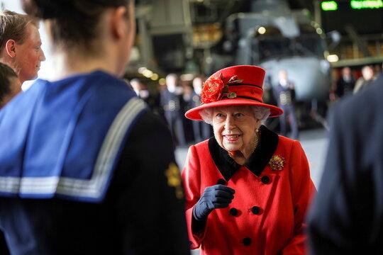 Britain's Queen Elizabeth visits Royal Navy aircraft carrier HMS Queen Elizabeth in Portsmouth