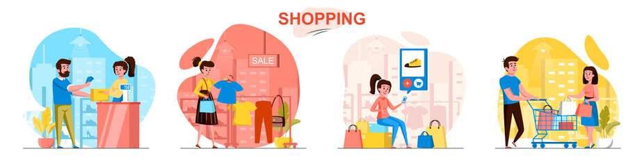 Shopping concept scenes set. Man and woman buy clothes at sales, choose shoes online, pay for purchases at store. Collection of people activities. Vector illustration of characters in flat design - fototapety na wymiar