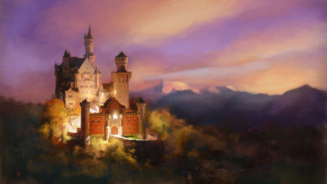 Castle in the night. Castele in mountains. Sunset landscape illustration. High resolution print.